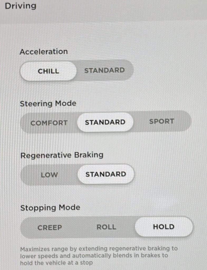 Tesla Model 3 Driving Settings
